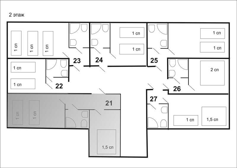 3 этаж: 4 двухкомнатных